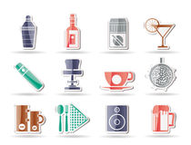 Night club, bar and drink icons Royalty Free Stock Images
