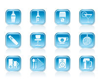 Night club, bar and drink icons Royalty Free Stock Photo