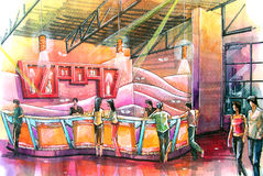 Night club bar water color illustration. Drinking bar of the night club. drawn in colorful design and theme Stock Image