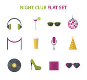 Night club cocktail party, disco music icon set, vector flat Royalty Free Stock Image