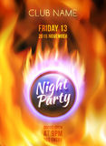 Night Club Colorful Flyer Template. Vector. Night club colorful flyer template. Summer night party poster. Abstract red burning fire flames. Fire ball on blazing Royalty Free Stock Images