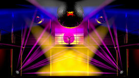 Night club colorful lights and disco balls Stock Photos