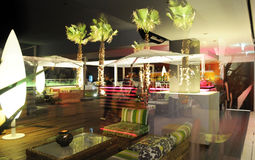 Cozy Outdoor Terrace - Image Overlay - Night Scene Royalty Free Stock Photo