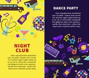 Night club party and dance party vector posters Royalty Free Stock Photography