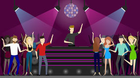Night club dance. People dancing at the dance floor and dj plays music Stock Images