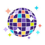 Night club disco ball with sparkling lights party vector flat icon Stock Image