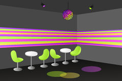 Night club disco interior table chair illustration Stock Image