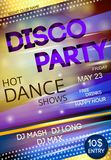 Night club disco party poster. Nightclub disco dancing party advertising billboard event poster vector illustration Royalty Free Stock Photography