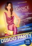 Night club disco party poster. Nightclub disco dancing party advertising event poster with a beautiful sexy girl vector illustration Stock Photography