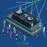 Night club DJ party concept. Night club dance DJ booth party flat 3d web isometric infographic concept vector template. Group young men girls dancing scene Royalty Free Illustration
