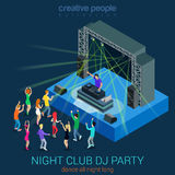 Night club DJ party flat 3d web isometric infographic concept. Night club dance DJ party flat 3d web isometric infographic concept template. Performance Stock Illustration