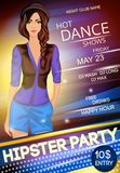 Night club hipster party poster Stock Images