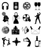Night club icons set Stock Photography
