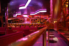 Night club interior. In red-purple lights Stock Images