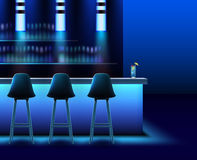 Night club interior. Vector empty night club interior in blue colors with bar counter,chairs, lamps and alcohol Stock Photos