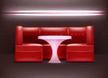 Night club interior. Vector night club interior in red colors with backlights, armchairs and illuminated table Royalty Free Stock Image