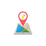Night club map pointer flat icon, mobile gps Royalty Free Stock Photos
