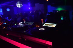 Night club mixing table with lights royalty free stock photos