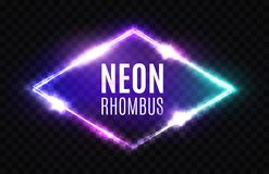 Night Club Neon Rhomb. 3d Rhombus Light Sign. Stock Photo