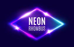 Night Club Neon Rhombus. Retro Light Lozenge Sign. Stock Images
