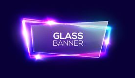 Night club neon sign with transparent glass plate. Royalty Free Stock Photo