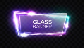 Night club neon sign with transparent glass plate. Royalty Free Stock Photos
