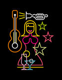 Night Club Neon Sign Vector Illustration Royalty Free Stock Photography