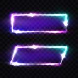 Night Club Neon Signs Set. Blank Retro Light Frame stock illustration