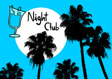 Night club palm Royalty Free Stock Images