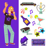 Night club party boy and dancing singing vector flat icons Stock Photo