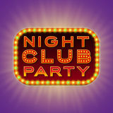Night club party. 3d retro light banner with shining bulbs. Red sign with green and yellow lights on dark background Royalty Free Stock Photos