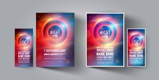 Night Club Party Flyer or Poster Layout Template. Musical electro concert in the style of house,dubstep,techno,minimal. Night Club Party Flyer or Poster Layout Royalty Free Stock Images