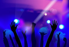 Night Club People Hands Silhouettes Celebration Royalty Free Stock Image