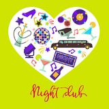 Night club promotional poster with attributes for fun inside heart Stock Image