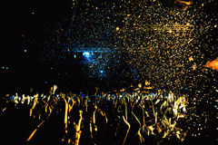 Night club silhouette crowd in confetti Royalty Free Stock Photo