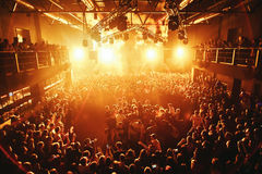 Night club silhouette crowd in mosh Stock Photography