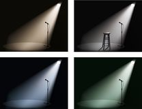 Night club with spotlight and microphone Royalty Free Stock Image