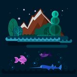 Night coast of lake with fishes. Royalty Free Stock Image