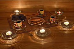Night coffee with biscuits Stock Photo