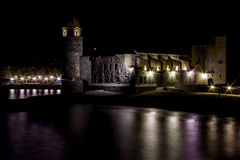 Night Colliure, South France Royalty Free Stock Photos