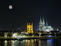 Night Cologne with moon. Night Cologne Cathedral from Rhine river with moon Stock Images
