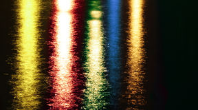 Night colorful abstract lights reflections on lake Stock Image
