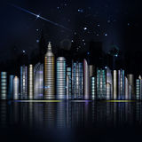 Night colorful city in vector. Town with skyscraper, river, ligh Royalty Free Stock Image
