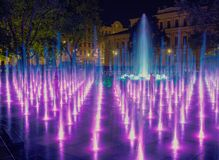 Night colorful fountain show in Lublin park Royalty Free Stock Photography