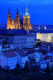 Night colorful Prague City with the gothic Castle, Czech Republic Stock Image