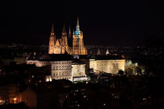 Night colorful Prague City with the gothic Castle, Czech Republic Royalty Free Stock Photos