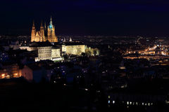 Night colorful Prague City with the gothic Castle, Czech Republic Royalty Free Stock Images