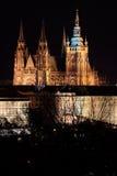Night colorful Prague City gothic Castle, Czech Republic Stock Image