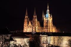 Night colorful Prague City gothic Castle, Czech Republic Stock Photography