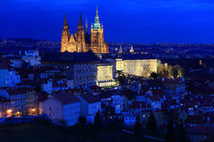 Night colorful Prague City with gothic Castle, Czech Republic Royalty Free Stock Photo